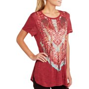 Women's Tribal Graphic Hi-Lo Short Sleeve T-Shirt