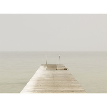 Wooden Pier On Misty Lake At Dawn Stretched Canvas - Neil Barclay  Design Pics (34 x - Pier 26 Halloween