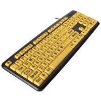 Large Print Computer Keyboard Wired USB High Contrast Yellow with Black Oversized Letters Multimedia Desktop Keyboard for Elderly Gift