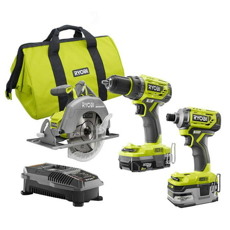 - Ryobi P1837 18V One+ Cordless Brushless 3 Tool Combo Contractor Kit (9 pieces: Drill/Driver, Impact Driver, Circular Saw, 7-1/4 in Blade, Blade Wrench, Charger, 2.0 & 3.0 Ah Batteries, Bag)