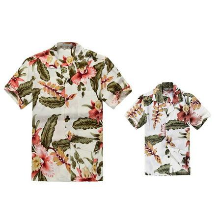 Matching Hawaiian Luau Outfit Men Boy Shirts in Cream Rafelsia - Luau Menu
