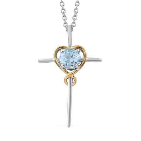 Mix Metal Platinum Plated Sky Blue Topaz Cross Pendant with Chain 20
