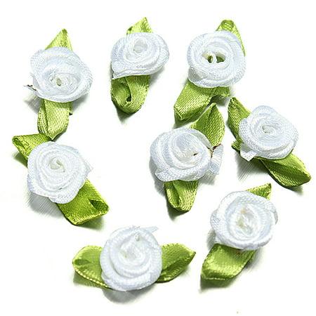 Meigar 100Pcs Satin Ribbon Roses Flower Appliques Scrapbooking Sewing Craft Decor Home Garden Christmas Decoration 25mm