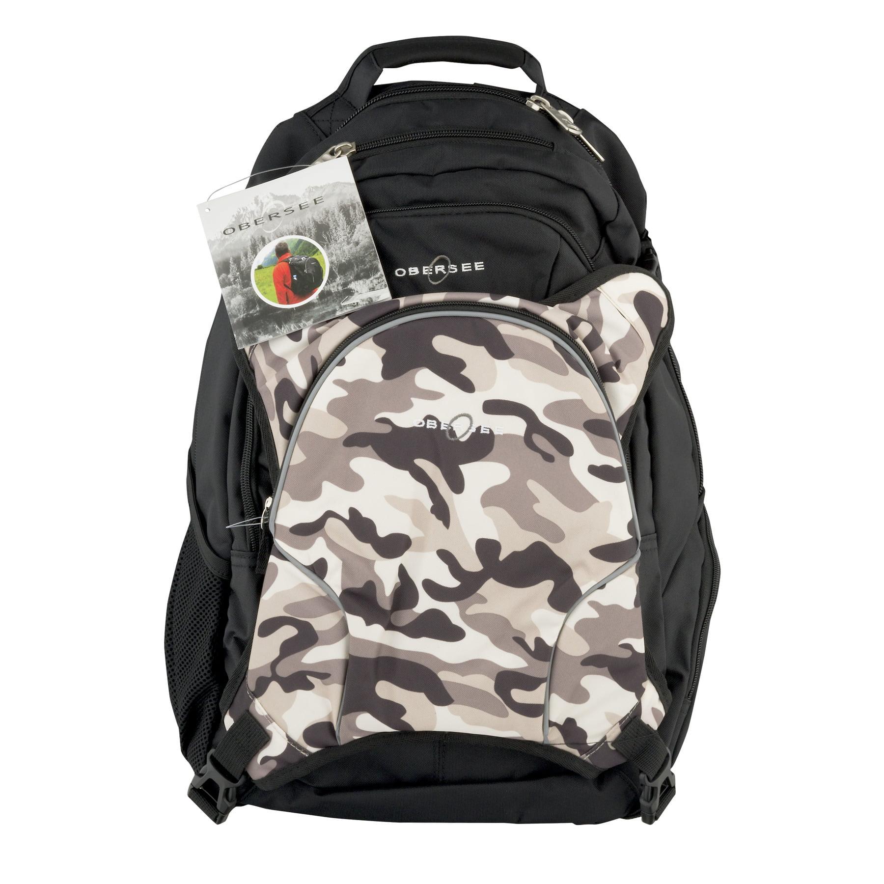 Obersee Bern Diaper Bag Backpack and Cooler, Black/Camo