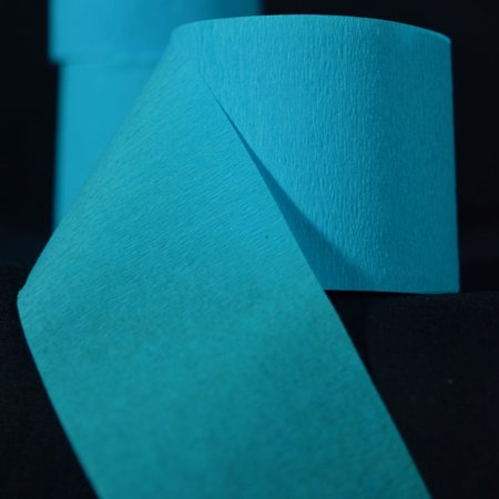 Blue Streamers (Quasimoon Turquoise Crepe Paper Streamer Party Decorations (195FT Total, 3 Pack) by)