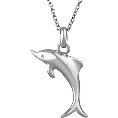 Sterling Silver Dolphin Critter Pendant Necklace, 18""