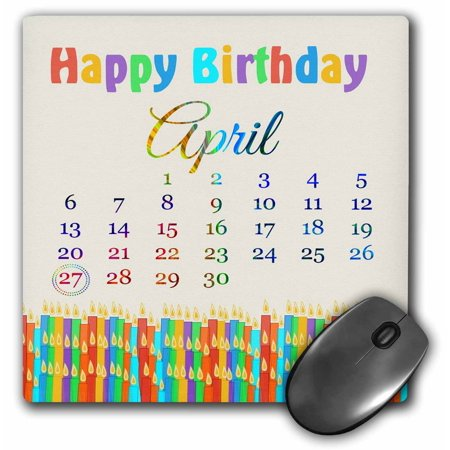 3dRose Birthday on April 27th, Colorful Birthday Candles with Flames, Mouse Pad, 8 by 8 inches