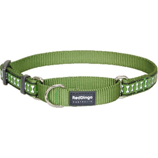 Red Dingo MC-RB-GR-ME Martingale Dog Collar Reflective Green, Medium
