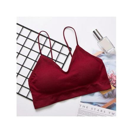 MarinaVida Women Solid Color Casual Sport Yoga Vest Seamless Strap Underwear (Best Underwear For Yoga)