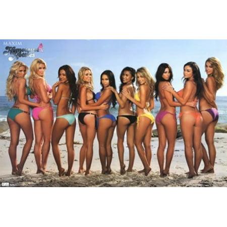 Bench Poster Print (Maxim - Beach Bikinis Poster Print )