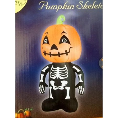 Airblown Inflatable Cute Pumpkin Skeleton 3.5' LED Lighted Self Inflates Gemmy](Skeleton Pumpkin)