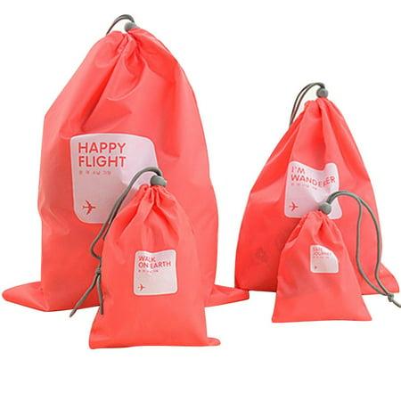 Travel Nylon Storage Sorted Drawstring Bag 4 Pcs Set - Nylon Drawstring Bag