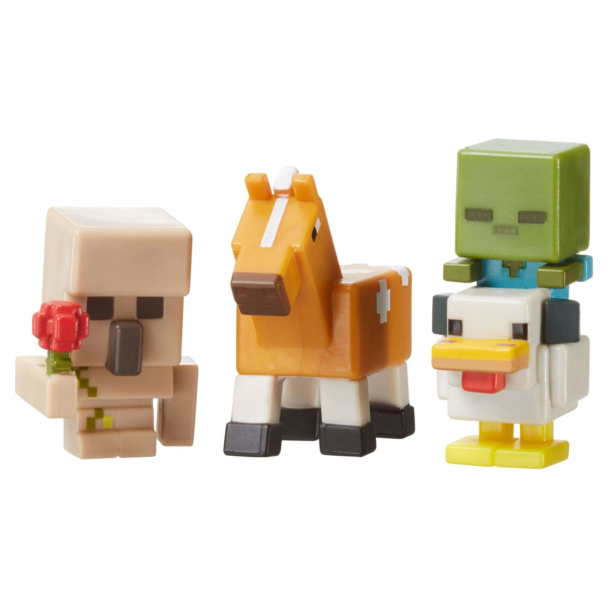 Minecraft 3-Pack Iron Golem with Flower, Chicken Zombie and Palomino Horse Figures by Mattel