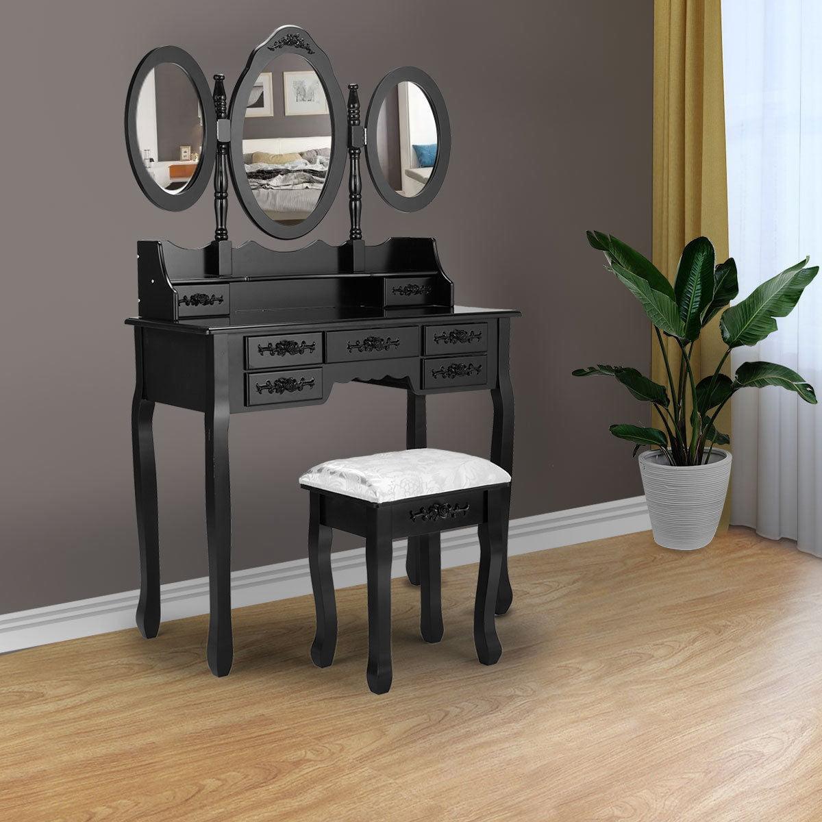 extraordinary black bedroom vanity   Topcobe Makeup Vanity Set with Drawers, Vanity Table with ...