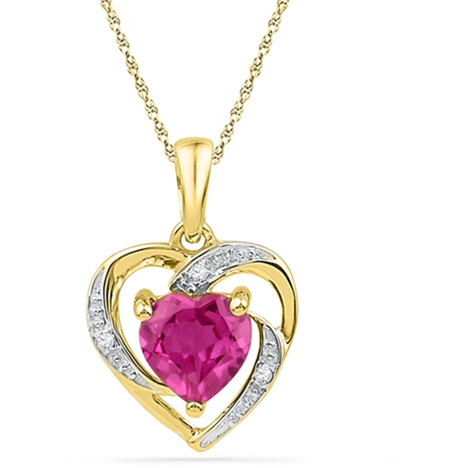 Ladies 10k Yellow Gold Created Pink Sapphire & Diamond Heart Love Pendant