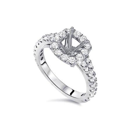 (1ct Diamond Ring Cushion Halo Setting 14K White Gold Semi Mount)