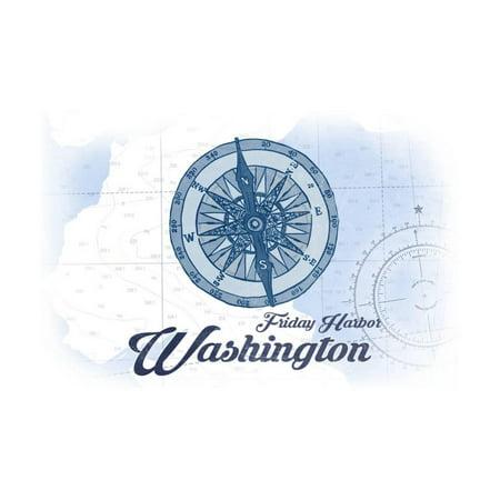 Blue Harbor (Friday Harbor, Washington - Compass - Blue - Coastal Icon Print Wall Art By Lantern)