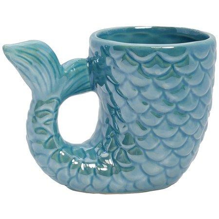 Mermaid Tail Mug - 10 Ounce Ceramic Coffee Cocoa Tea Cup w/ Embossed Finish ()