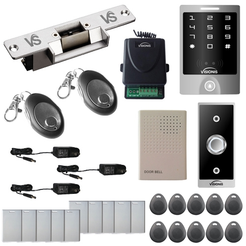 Visionis FPC-5475 1 door Access control 1100lbs Electric Strike with Time Delay Fail Safe, VIS-3000 Outdoor Weatherproof Keypad/Reader Standalone No Software EM Card Compatible Wireless Receiver Kit