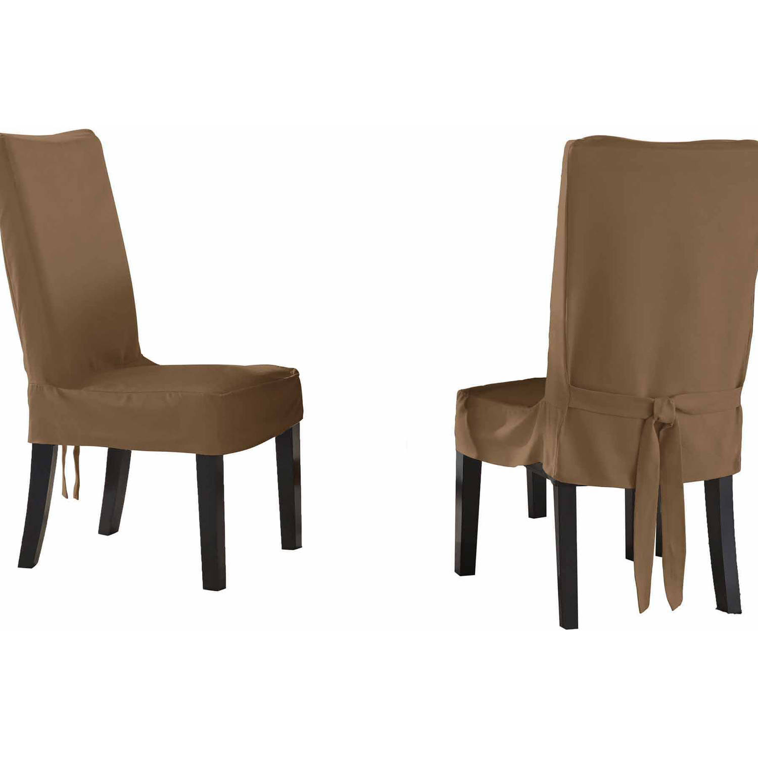 Serta Relaxed Fit Smooth Suede Furniture Slipcover, 2-Pack Dining/Parsons Chair, Short Skirt