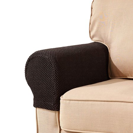Subrtex Spandex Stretch Fabric Armrest Covers Sofa Armchair Slipcovers Set of 2 (Chocolate Jacquard) ()