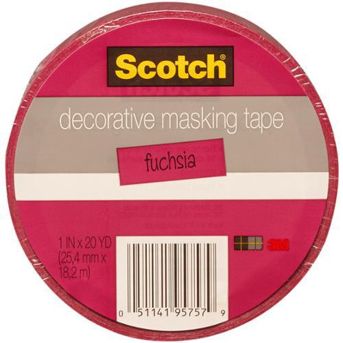 "Scotch Decorative Masking Tape 1""X 20 Yards-Dark Pink"