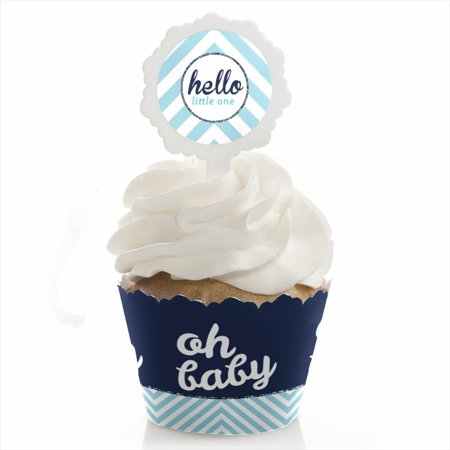 Hello Little One - Blue and Silver - Cupcake Wrapper & Pick Boy Baby Shower Kit - Set of 24