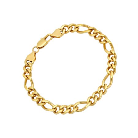 Men S Gold Tone Stainless Steel Figaro Bracelet 9 Mens