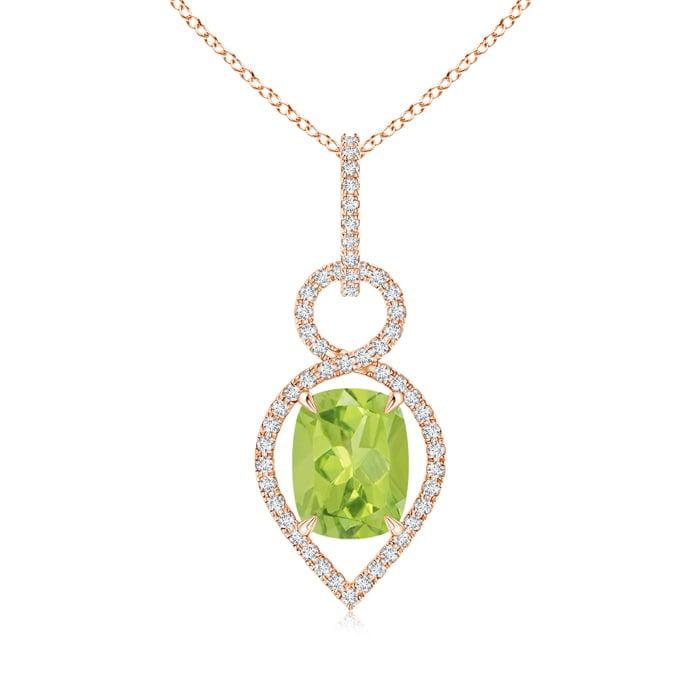 Angara Peridot Pendant Necklace Rose Gold 5yqBFpjn