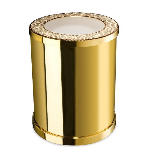 AGM Home Store Starlight Brass/Swarovski Crystals Open Waste Basket