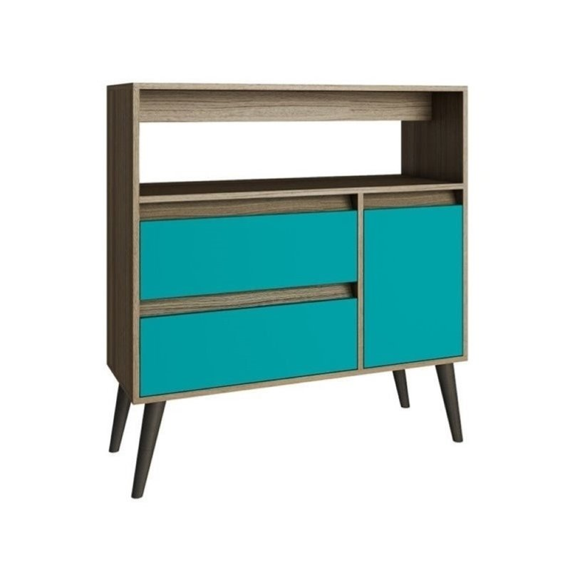 Bowery Hill 1 Door Console Table in Oak and Aqua