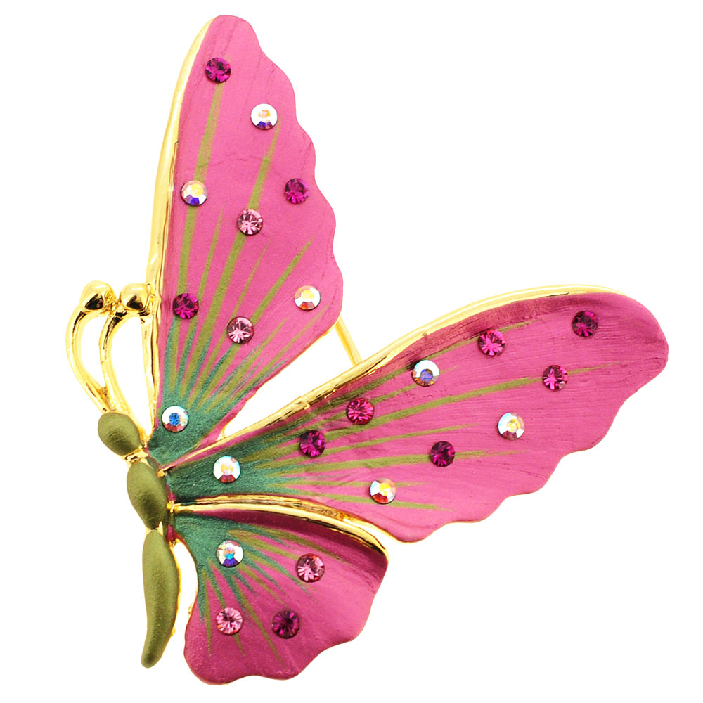 Pink Butterfly Pin Brooch And Pendant by
