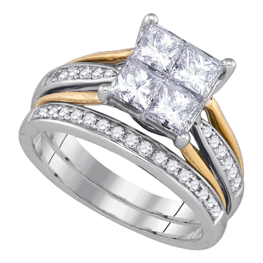 14k White Gold Womens Princess Diamond 2-tone Bridal Wedding Engagement Ring Band Set 2.00 Cttw by