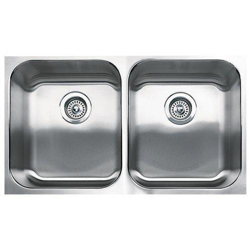 "Blanco 440258 Spex Plus 18"" X 31.12"" Double-Basin Stainless Steel Undermount Residential Kitchen Sink, Stainless Steel"