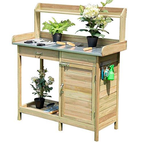 """GHP 44""""x18""""x49.5"""" Fir Wood Metal Tabletop Garden Potting Bench Drawer & Shelf"""