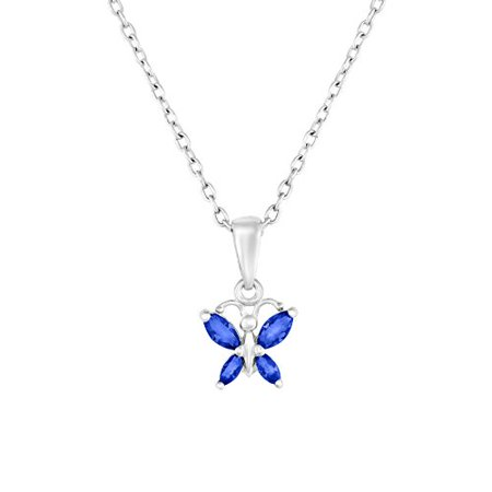Sterling Silver Butterfly Pendant Necklace with Simulated Birthstone CZ for Girls, 16'' (September)