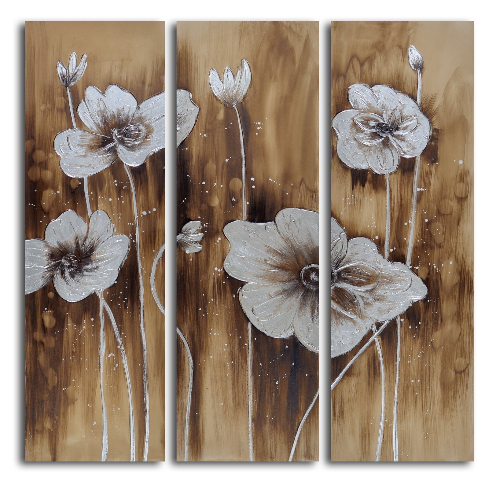 Muddied Floral March 3 Piece Canvas Wall Art Set