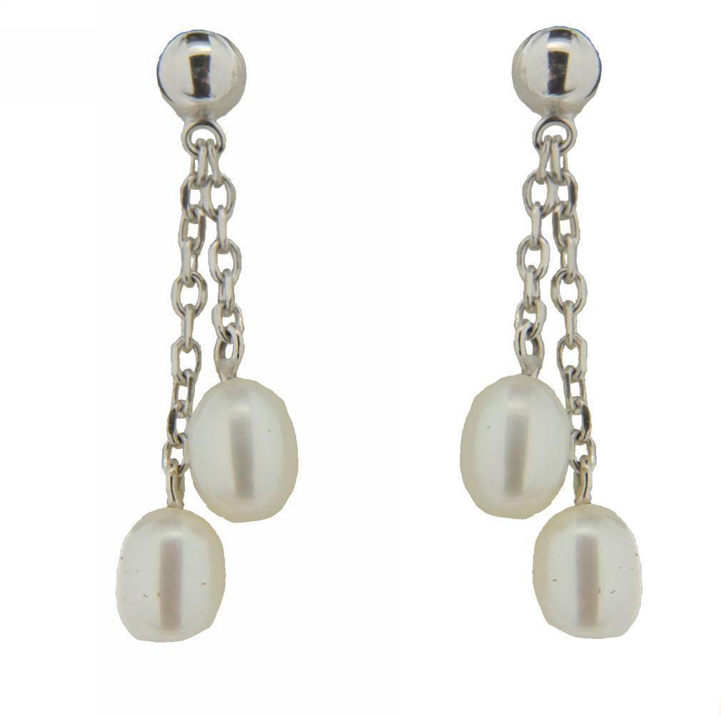 18K WG Pearl Dangle Earrings (27mm 4mm Per Pearl) by