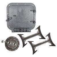 BK100E Barrel Stove Kit, 2 Pieces, 6 in Round Flue Collar, 10 X 11 in Door Opening