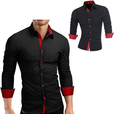 Mens Slim Fit Long Sleeve Cotton Shirt Casual Button Business Dress T-Shirt Tops - image 1 of 5