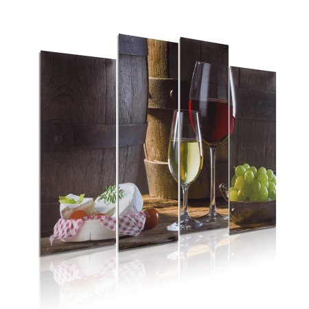Diy Abstract Painting (4Pcs/set Modern Abstract Red Wine Dessert Fruit Canvas Art Oil Painting Picture Prints Wall Decor)