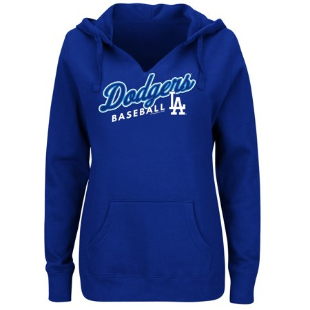 Women's Majestic Royal Los Angeles Dodgers Fresh & Exciting V-Neck Pullover Hoodie (Majestic Ribbed Pullover)