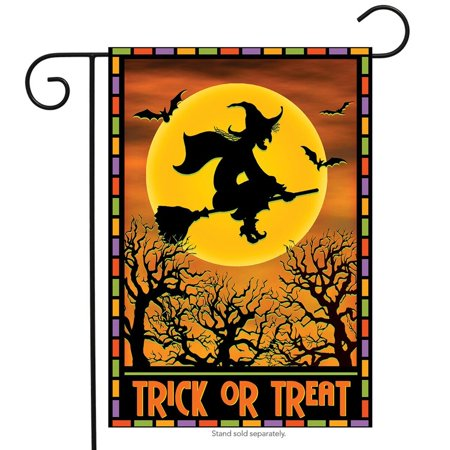 Full Moon Witch Halloween Garden Flag Full Moon 12.5