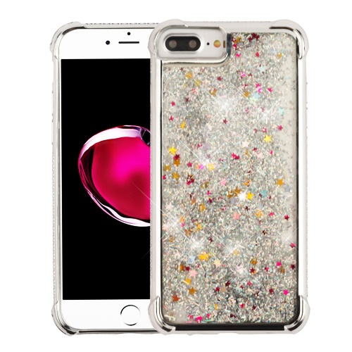 MUNDAZE Silver Motion Glitter Chrome Case For Apple iphone 6 Plus/6s Plus Phone