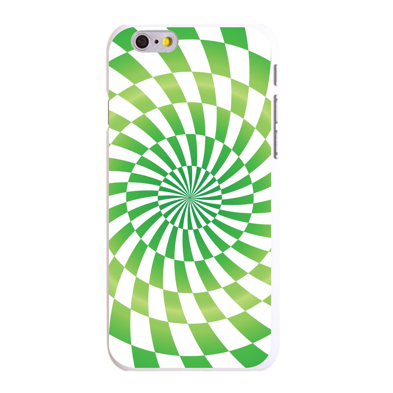 "CUSTOM White Hard Plastic Snap-On Case for Apple iPhone 6 PLUS / 6S PLUS (5.5"" Screen) - Green White Swirl Geometric"