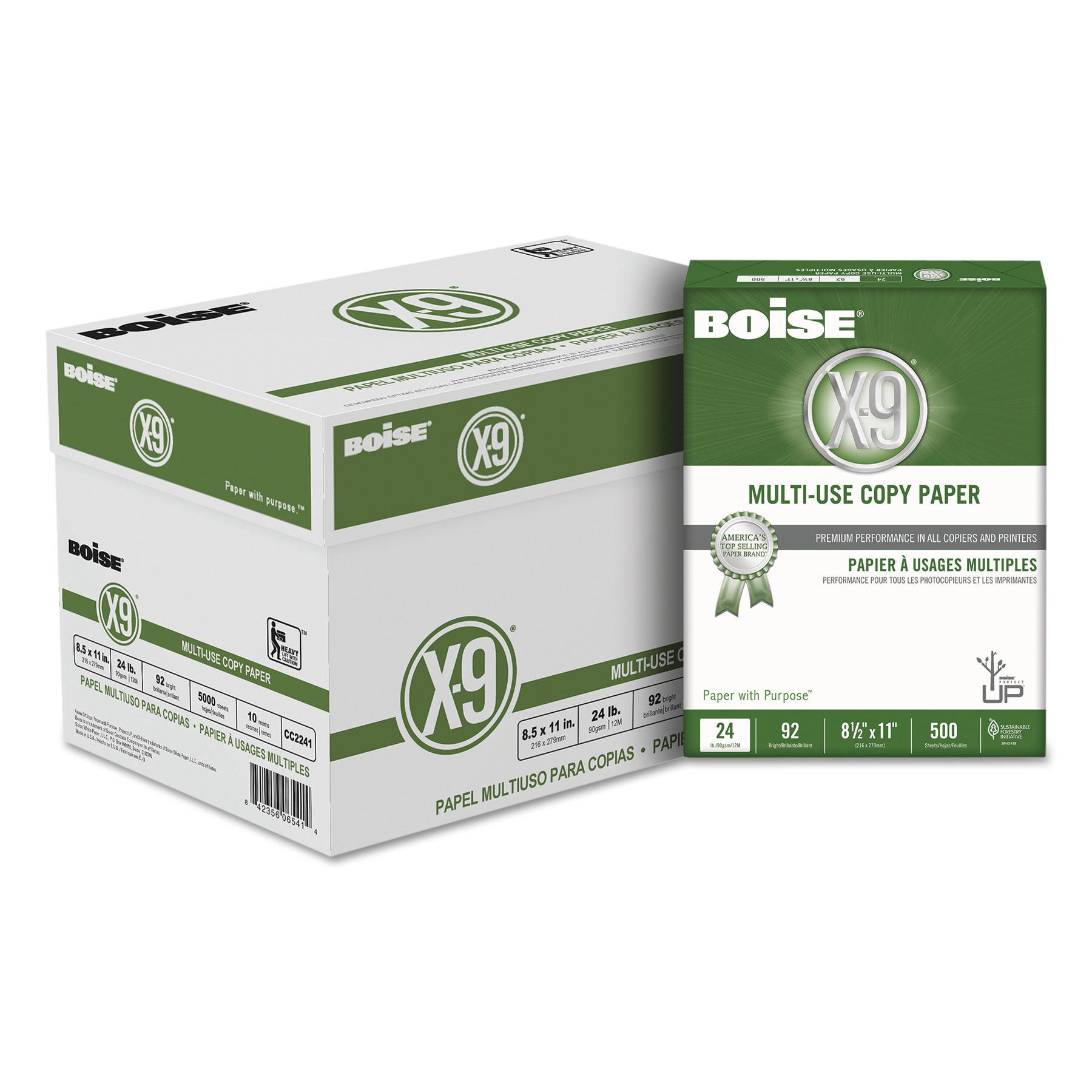 Boise X-9 Multi-Use Copy Paper, 24lb, 8 1 2 x 11, White, 500 Ream, 10 Reams Carton by CASCADES
