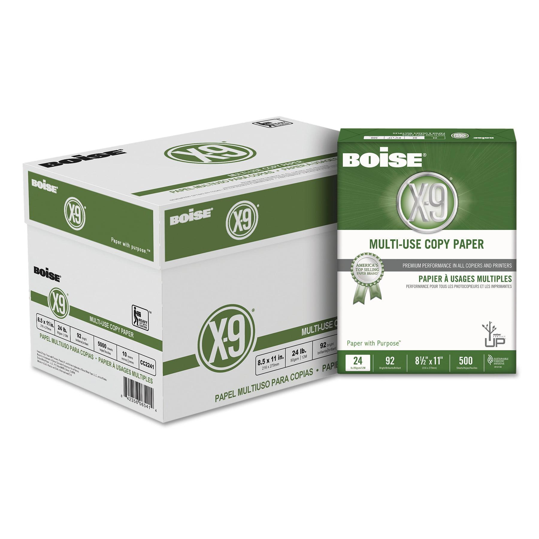 Boise X-9 Multi-Use Copy Paper, 24lb, 8 1/2 x 11, White, 500/Ream, 10 Reams/Carton