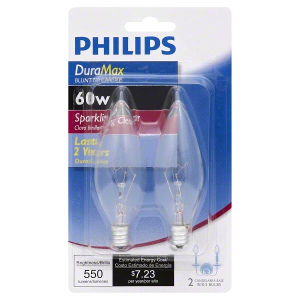 Philips Lighting 168260 B10 Decorative Incandescent Lamp 60 Watt E12 Candelabra Base 550 Lumens White DuraMax™