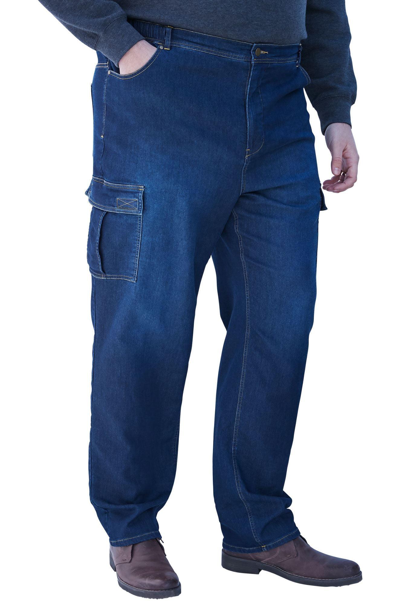 Men's Big & Tall Relaxed Fit Cargo Denim Sweatpants