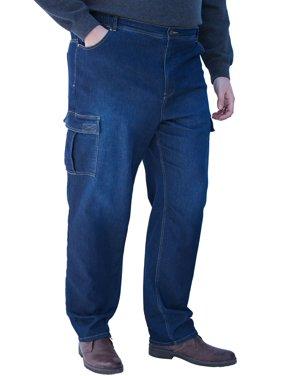 Kingsize Men's Big & Tall Relaxed Fit Cargo Denim Sweatpants